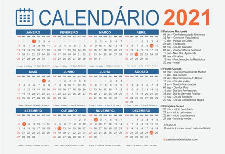 Calendario Feriados 2021 Brasil Feriados em 2021